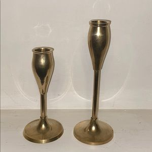 Pair of solid brass candleholders